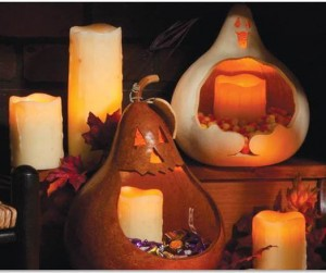 Gourd Candy Dish with LED Battery Operated Candles