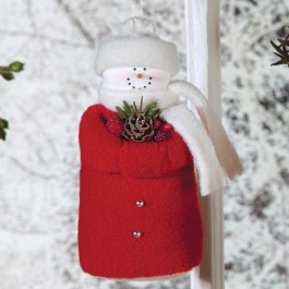 Red Felt Pinecone Snowman Ornament
