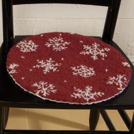 Snowflake Hooked Wool Chair Pad