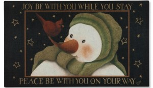 Christmas Greetings Snowman Doormat