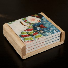 Snowman And Cardinal Coaster Set