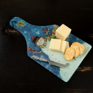 Snowman and Cardinal Glass Cheese Set