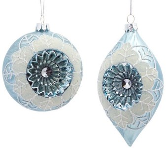 Blue and White Victorian Glass Ornament Set