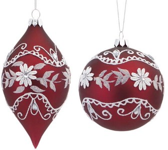 Crochet and Burgundy Glass Ornament Set