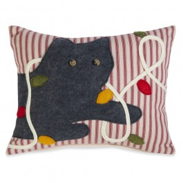 Tangled Cat and Lights Pillow