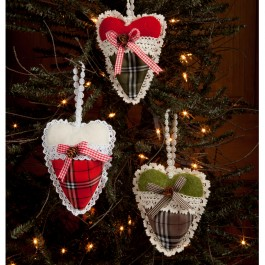 Country Heart Ornament Set