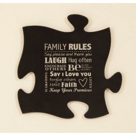 Family Rules Puzzle Piece Wall Art