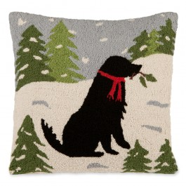 Dog in Snow Pillow