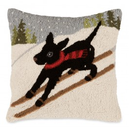 Skiing Dog Pillow