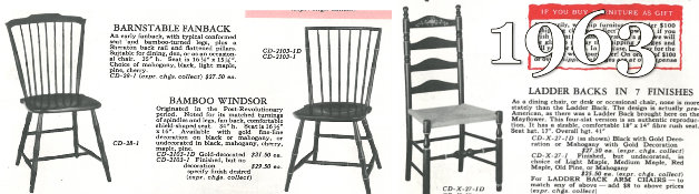 Historical Sturbridge Yankee Workshop Windsor and Ladderback Chair Styles