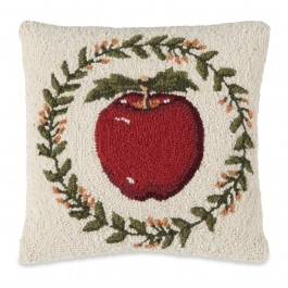 Apple Hooked Wool Pillow
