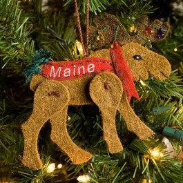 Maine Wool Moose Ornament With Lights