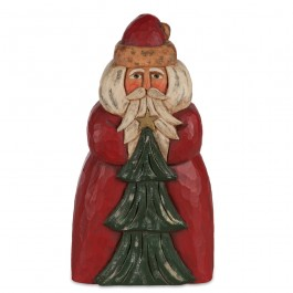 Red Carved Santa With Tree Sculpture