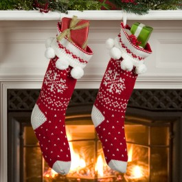 Red Snowflake Knit Stocking