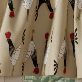 Retro Rooster Curtains Detail