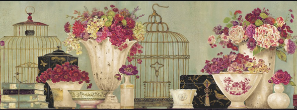 Bird Cages and Flowers Wall Border