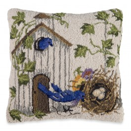 Birdhouse Hooked Wool Pillow