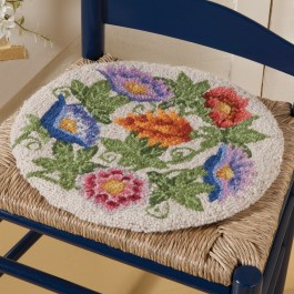 Blooming Gardens Hooked Wool Chair Pad