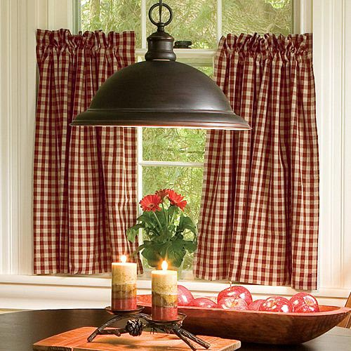 Country Check Curtains Red