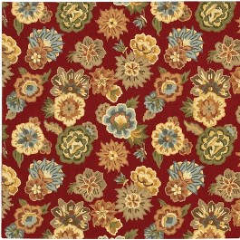 Detail of Red Wool Floral Fusion Rug