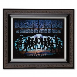 Skaters at Dusk Papercut Framed Print