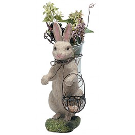 Beige Rabbit With Glass Vase