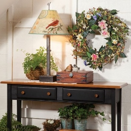 Bright & Cheery Wreath, Handmade Bird Print Lamp, Country Shaker Sofa Hall Table