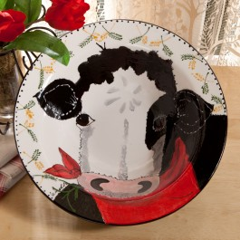 Country Cow Large Serving Bowl Front View