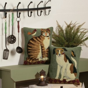 Folk Art Dog and Cat Pillows
