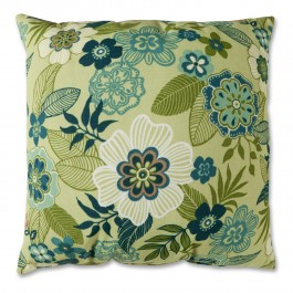 Green Floral Toss Pillow