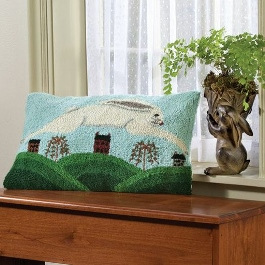 Leaping Rabbit Hooked Wool Pillow Environment