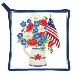 Patriotic Flowers Potholder