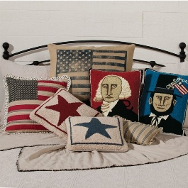 George Washington and Abe Lincoln Hooked Wool Pillows, Burlap Flag Pillow, Ruffle Flag Pillow, Star Hooked Pillows