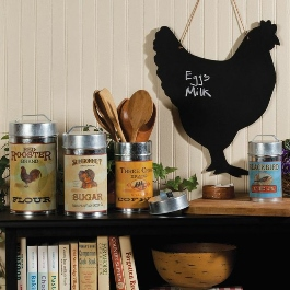 Rooster Chalk Board, Farmhouse Storage Tins, Rustic Wooden Bowl, Shaker Banded Box