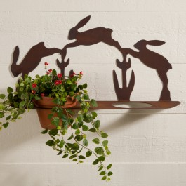 Rusted Metal Bunny Pot Holders