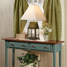 Country Shaker Sofa Hall Table, Sturbridge Lantern Lamp, Sturbridge Plaid Curtains, Cherry Blossom Display