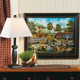 Timeless Black Table Lamp, Barnyard Meeting Print, Higgeldy Piggeldy Sculpture
