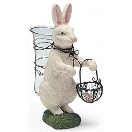 White Rabbit With Glass Vase
