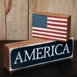 America & Flag Sign Blocks