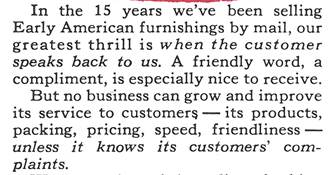 1970 Sturbridge Yankee Workshop Customer Complaints