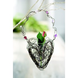Jeweled Hanging Heart Basket
