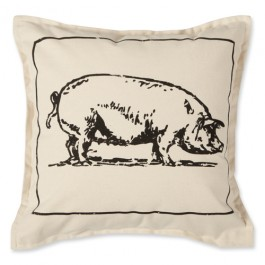 Country Canvas Pig Pillow