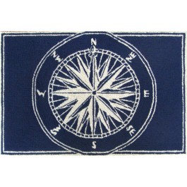 Navy Compass Indoor and Outdoor Rug
