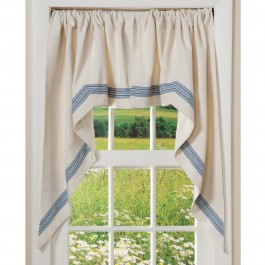 Navy Ticking Stripe Curtains Swag