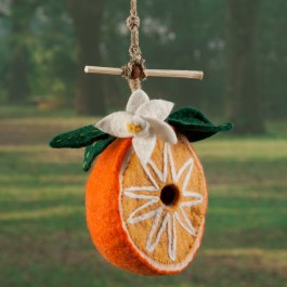 Orange Felted Wool Birdhouse