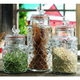 Glass Rooster Canisters Set