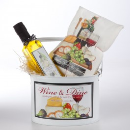 Wine Towel and Olive Oil Gift Bucket
