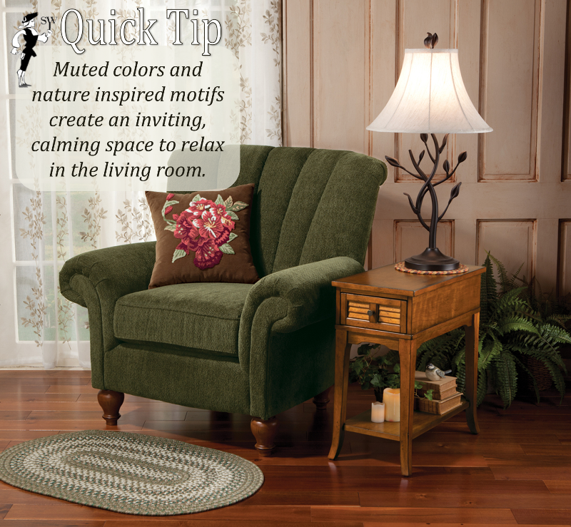 Muted colors and nature inspired motifs create an inviting, calming space to relax in the living room.