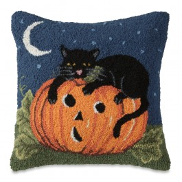 Pumpkin Cat Hooked Wool Pillow