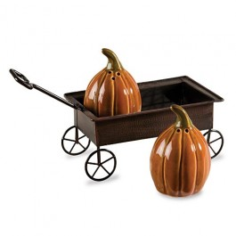 Pumpkin Wagon Salt and Pepper Shakers